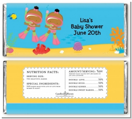 Under the Sea African American Baby Girl Twins Snorkeling - Personalized Baby Shower Candy Bar Wrappers
