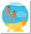 Under the Sea African American Baby Girl Twins Snorkeling - Personalized Baby Shower Centerpiece Stand thumbnail