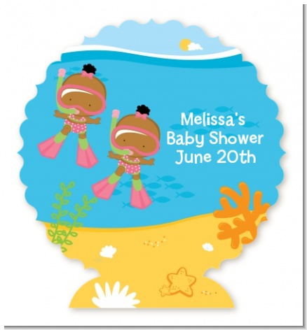 Under the Sea African American Baby Girl Twins Snorkeling - Personalized Baby Shower Centerpiece Stand