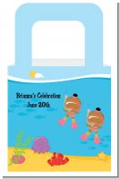 Under the Sea African American Baby Girl Twins Snorkeling - Personalized Baby Shower Favor Boxes