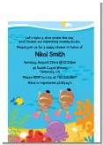 Under the Sea African American Baby Girl Twins Snorkeling - Baby Shower Petite Invitations
