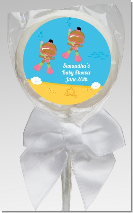 Under the Sea African American Baby Girl Twins Snorkeling - Personalized Baby Shower Lollipop Favors