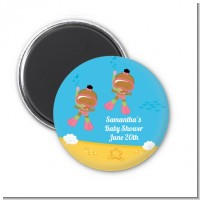 Under the Sea African American Baby Girl Twins Snorkeling - Personalized Baby Shower Magnet Favors