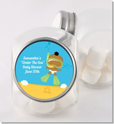Under the Sea African American Baby Snorkeling - Personalized Baby Shower Candy Jar