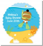 Under the Sea African American Baby Snorkeling - Personalized Baby Shower Centerpiece Stand