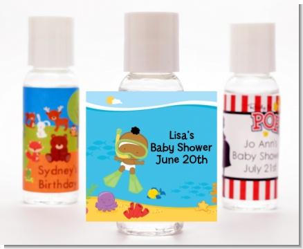Under the Sea African American Baby Snorkeling - Personalized Baby Shower Hand Sanitizers Favors