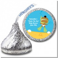 Under the Sea African American Baby Snorkeling - Hershey Kiss Baby Shower Sticker Labels