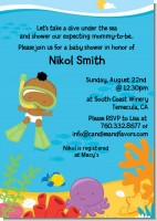Under the Sea African American Baby Snorkeling - Baby Shower Invitations