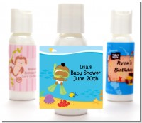 Under the Sea African American Baby Snorkeling - Personalized Baby Shower Lotion Favors