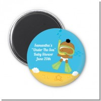 Under the Sea African American Baby Snorkeling - Personalized Baby Shower Magnet Favors