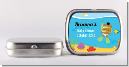 Under the Sea African American Baby Snorkeling - Personalized Baby Shower Mint Tins