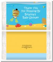 Under the Sea African American Baby Snorkeling - Personalized Popcorn Wrapper Baby Shower Favors