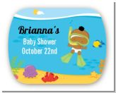 Under the Sea African American Baby Snorkeling - Personalized Baby Shower Rounded Corner Stickers
