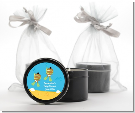 Under the Sea African American Baby Twins Snorkeling - Baby Shower Black Candle Tin Favors