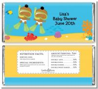 Under the Sea African American Baby Twins Snorkeling - Personalized Baby Shower Candy Bar Wrappers