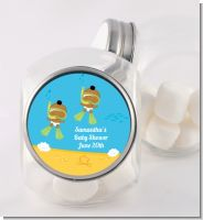 Under the Sea African American Baby Twins Snorkeling - Personalized Baby Shower Candy Jar