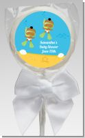 Under the Sea African American Baby Twins Snorkeling - Personalized Baby Shower Lollipop Favors