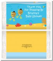 Under the Sea African American Baby Twins Snorkeling - Personalized Popcorn Wrapper Baby Shower Favors