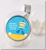Under the Sea Asian Baby Boy Snorkeling - Personalized Baby Shower Candy Jar