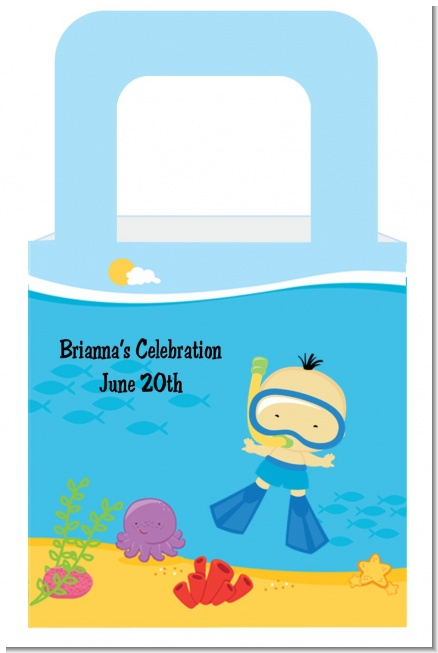 Under the Sea Asian Baby Boy Snorkeling - Personalized Baby Shower Favor Boxes