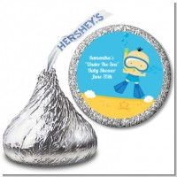 Under the Sea Asian Baby Boy Snorkeling - Hershey Kiss Baby Shower Sticker Labels