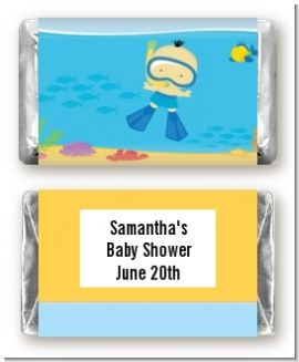 Under the Sea Asian Baby Boy Snorkeling - Personalized Baby Shower Mini Candy Bar Wrappers