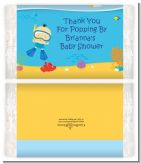 Under the Sea Asian Baby Boy Snorkeling - Personalized Popcorn Wrapper Baby Shower Favors