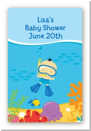 Under the Sea Asian Baby Boy Snorkeling - Custom Large Rectangle Baby Shower Sticker/Labels