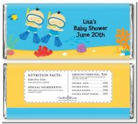 Under the Sea Asian Baby Boy Twins Snorkeling - Personalized Baby Shower Candy Bar Wrappers