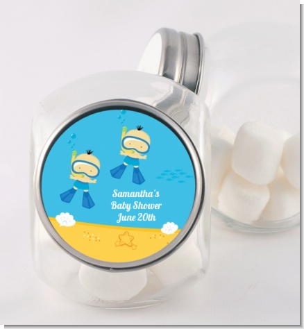 Under the Sea Asian Baby Boy Twins Snorkeling - Personalized Baby Shower Candy Jar