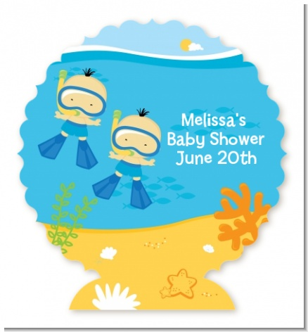 Under the Sea Asian Baby Boy Twins Snorkeling - Personalized Baby Shower Centerpiece Stand