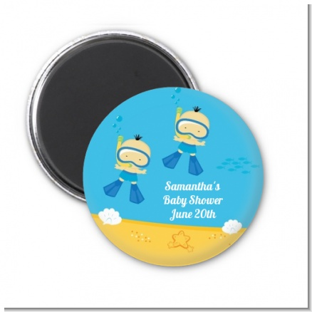 Under the Sea Asian Baby Boy Twins Snorkeling - Personalized Baby Shower Magnet Favors