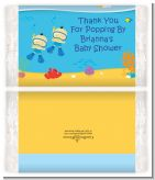 Under the Sea Asian Baby Boy Twins Snorkeling - Personalized Popcorn Wrapper Baby Shower Favors