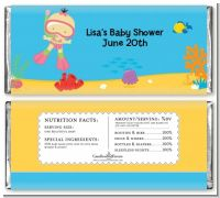 Under the Sea Asian Baby Girl Snorkeling - Personalized Baby Shower Candy Bar Wrappers