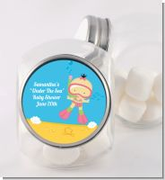 Under the Sea Asian Baby Girl Snorkeling - Personalized Baby Shower Candy Jar