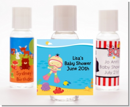 Under the Sea Asian Baby Girl Snorkeling - Personalized Baby Shower Hand Sanitizers Favors
