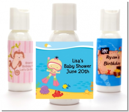 Under the Sea Asian Baby Girl Snorkeling - Personalized Baby Shower Lotion Favors