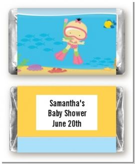 Under the Sea Asian Baby Girl Snorkeling - Personalized Baby Shower Mini Candy Bar Wrappers