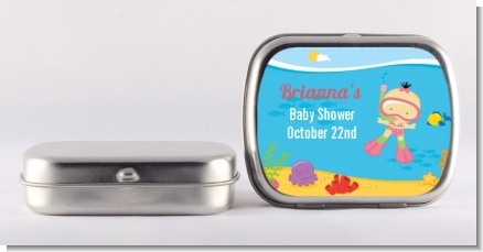 Under the Sea Asian Baby Girl Snorkeling - Personalized Baby Shower Mint Tins
