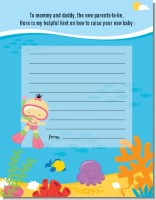 Under the Sea Asian Baby Girl Snorkeling - Baby Shower Notes of Advice