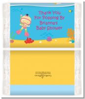 Under the Sea Asian Baby Girl Snorkeling - Personalized Popcorn Wrapper Baby Shower Favors