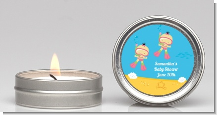 Under the Sea Asian Baby Girl Twins Snorkeling - Baby Shower Candle Favors