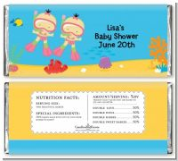 Under the Sea Asian Baby Girl Twins Snorkeling - Personalized Baby Shower Candy Bar Wrappers
