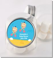Under the Sea Asian Baby Girl Twins Snorkeling - Personalized Baby Shower Candy Jar