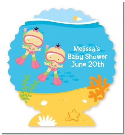 Under the Sea Asian Baby Girl Twins Snorkeling - Personalized Baby Shower Centerpiece Stand