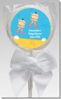 Under the Sea Asian Baby Girl Twins Snorkeling - Personalized Baby Shower Lollipop Favors