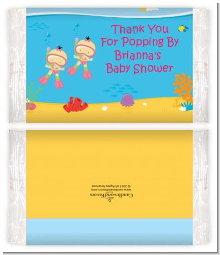 Under the Sea Asian Baby Girl Twins Snorkeling - Personalized Popcorn Wrapper Baby Shower Favors