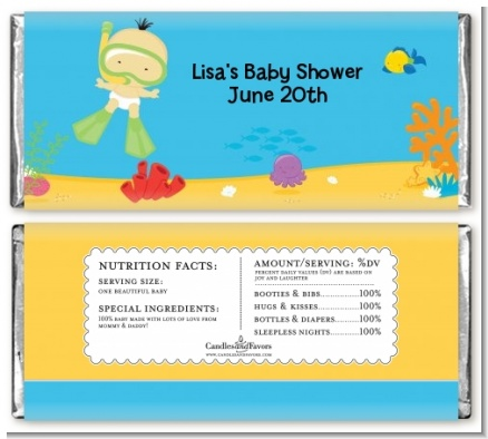 Under the Sea Asian Baby Snorkeling - Personalized Baby Shower Candy Bar Wrappers