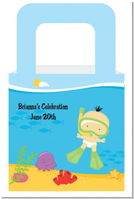 Under the Sea Asian Baby Snorkeling - Personalized Baby Shower Favor Boxes