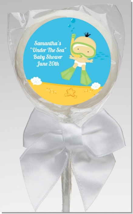 Under the Sea Asian Baby Snorkeling - Personalized Baby Shower Lollipop Favors